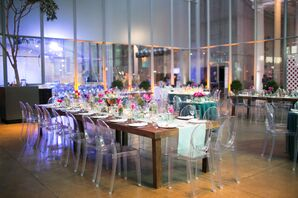 Modern Indoor Reception, Simple Turquoise and Pink Decor