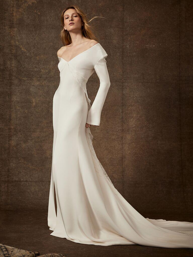 Danielle Frankel Spring 2020 Bridal Collection off-the-shoulder fitted wedding dress