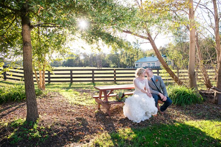 Lauren topped her strapless gown with a lace coverlet from BHLDN.