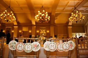 Shabby-Chic Floral Reception Chair Signs