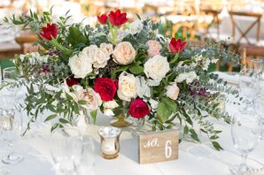Eucalyptus and Garden Rose Centerpiece