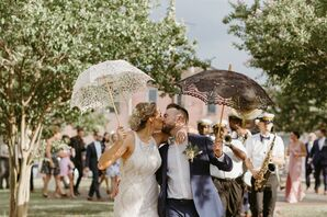 Romantic Second Line with Bride, Groom and Parasols in New Orleans