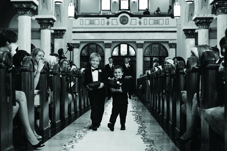 Ashley's godsons served as the ring bearers, nearly stealing the show!