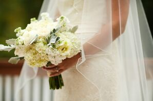 White Hydrangea and Dusty Miller Bouquet