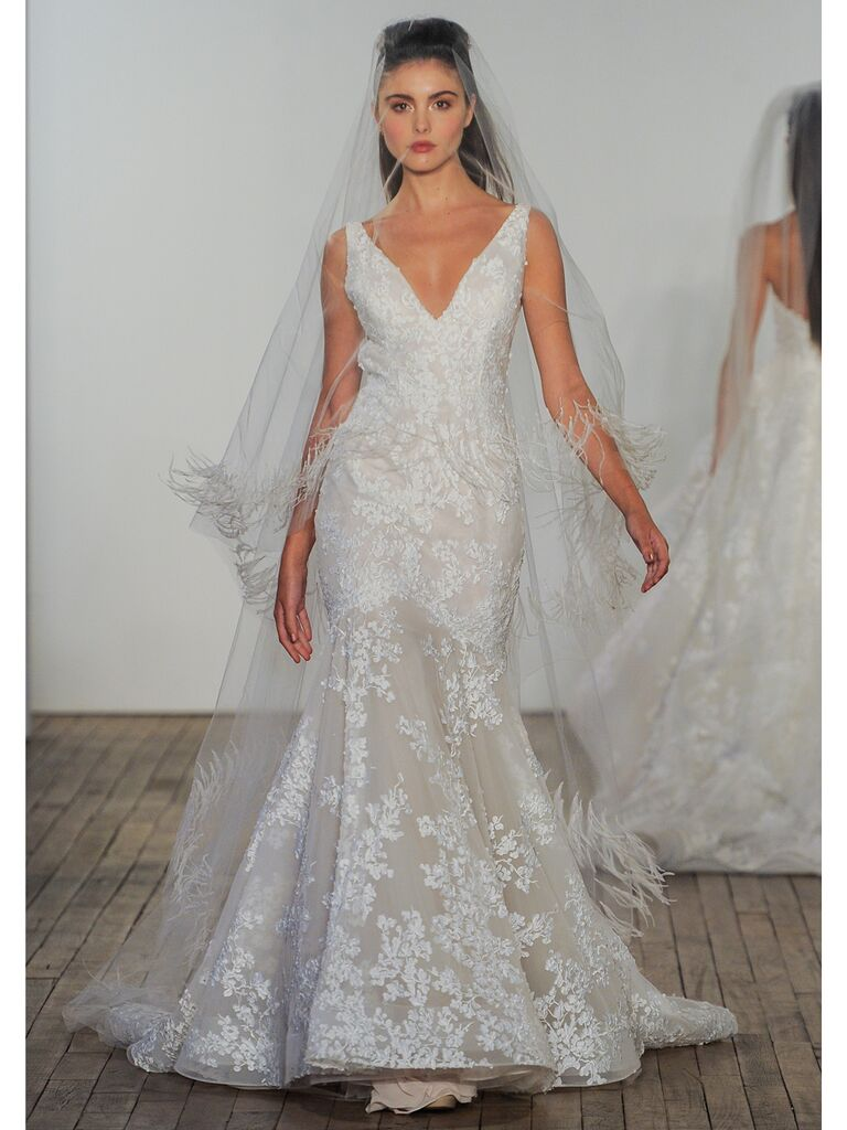 Lazaro wedding down lace floral
