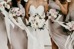Elegant White Blossom Bouquets, Neutral Bridesmaid Gowns