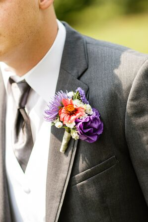 Bright Dianthus, Rose and Wildflower Boutonniere