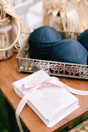 Ceremony Programs and Traditional Jewish Yarmulkes