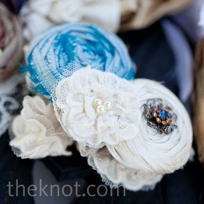 Jessica wore a garter with silk flowers sewn onto it- her something blue.