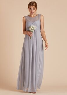 Birdy Grey Ryan Mesh Dress in Silver Illusion Bridesmaid Dress