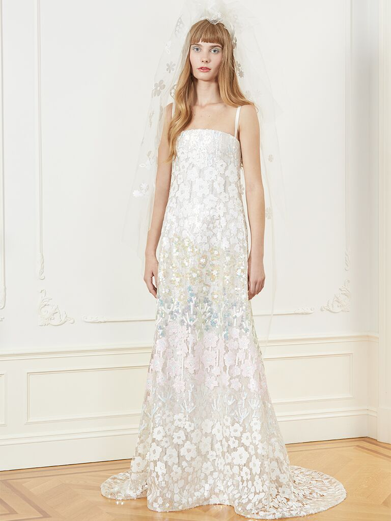 Honor A-line wedding dress with beaded overlay and colored embroidery.