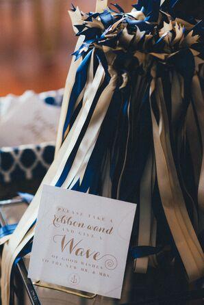 Navy and White Celebratory Wands