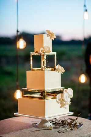 Modern Square Tiered Wedding Cake with Flowers