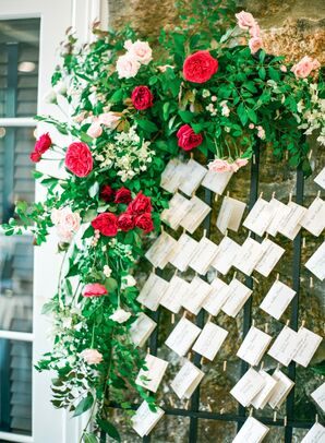 Rose-Covered Escort Card Display