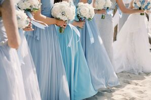 Light Blue Bridesmaids Dresses for Massachusetts Wedding