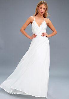 Lulus Madalyn White Lace Maxi Dress A-Line Wedding Dress