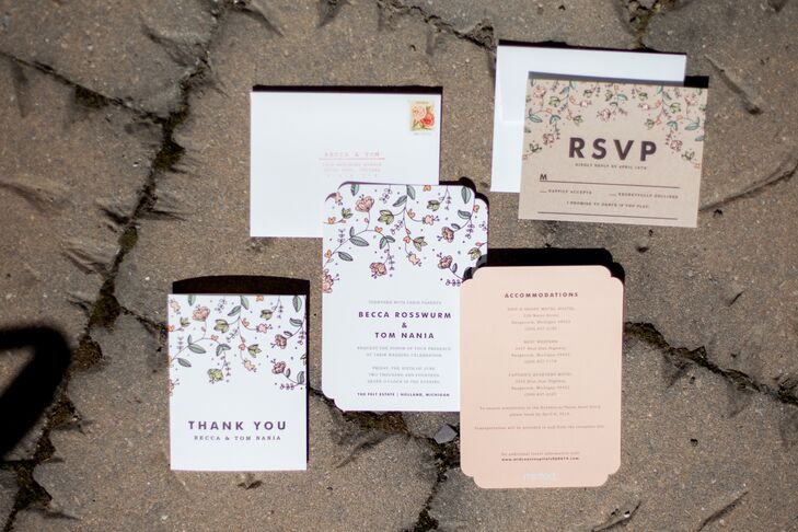 Neutral Floral Invitations