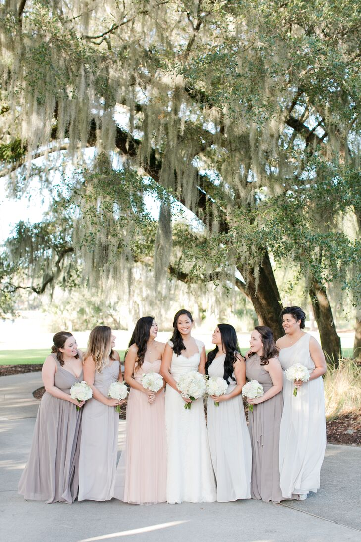 "Wanting to create a romantic winter style, Gladys choose a floor-length blush pink gown for her maid of honor. ""I let the other girls choose whichever color, from the taupe palette, and the style they liked the most as long as they were long and chiffon,"" she says."