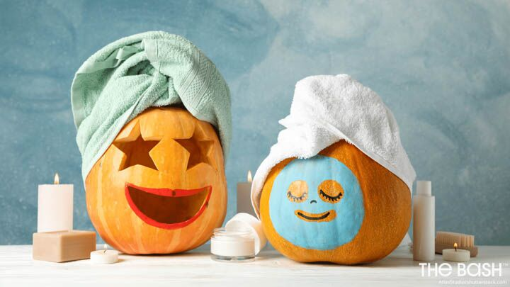Funny Halloween Zoom Background - Spa Pumpkins