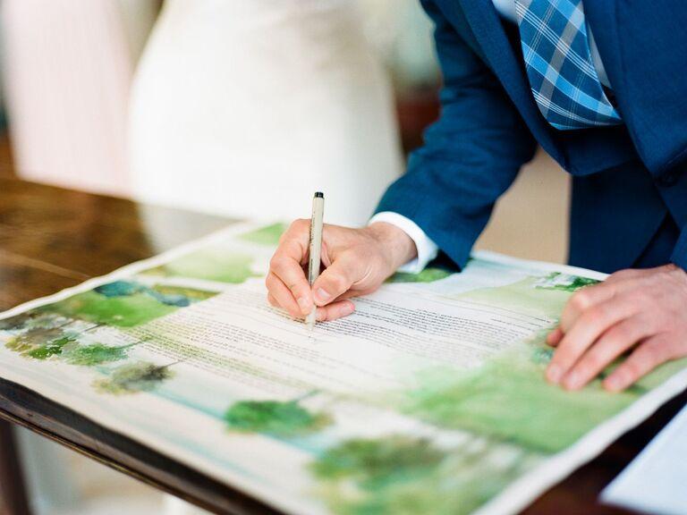 groom signing the ketubah