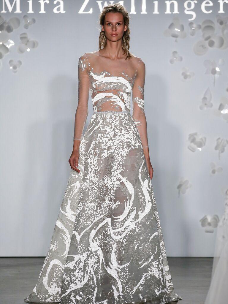 Mira Zwillinger Spring 2020 Bridal Collection asymmetrical modern wedding dress