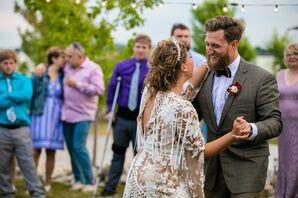 Bohemian First Dance at Backyard Wedding
