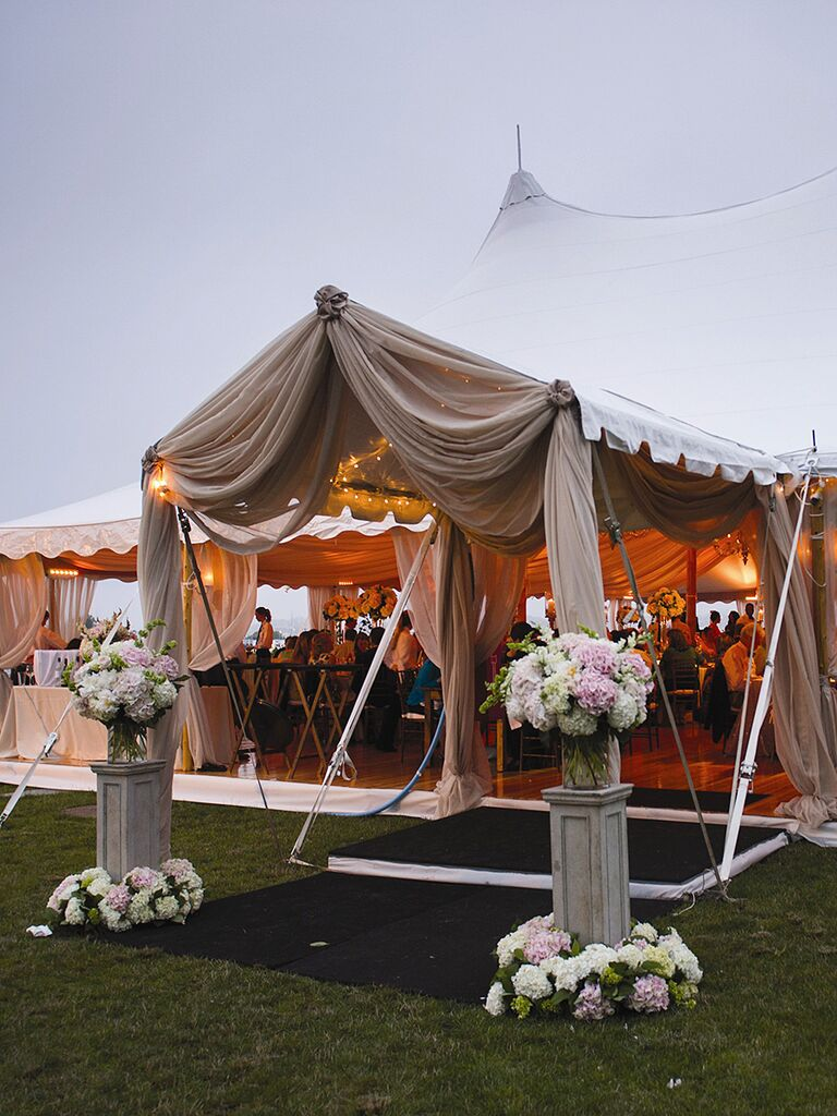 Outdoor Wedding Tent Entrance With Flowers
