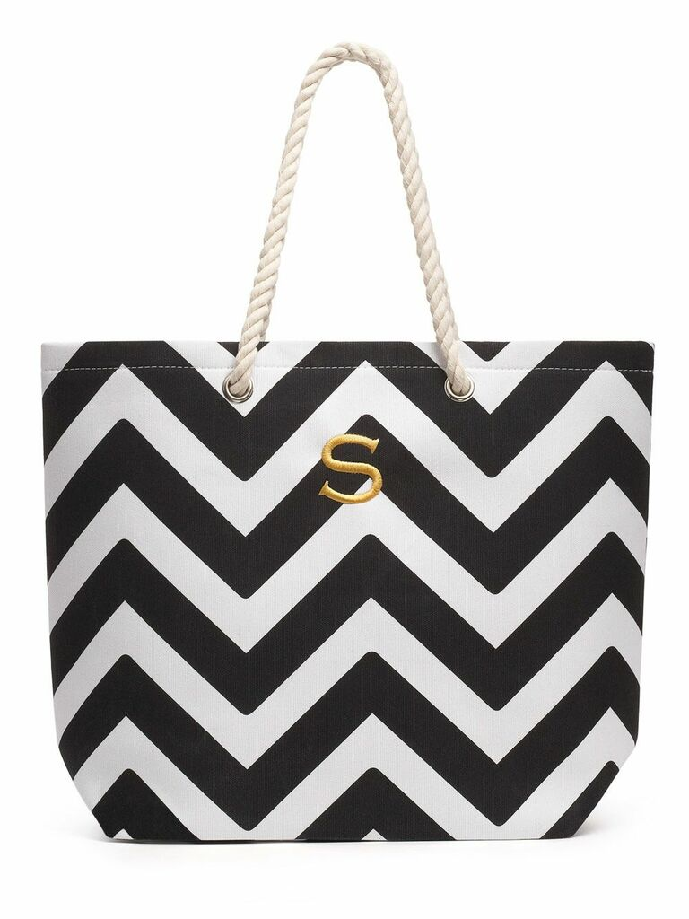 striped tote bag personalized gift for wife