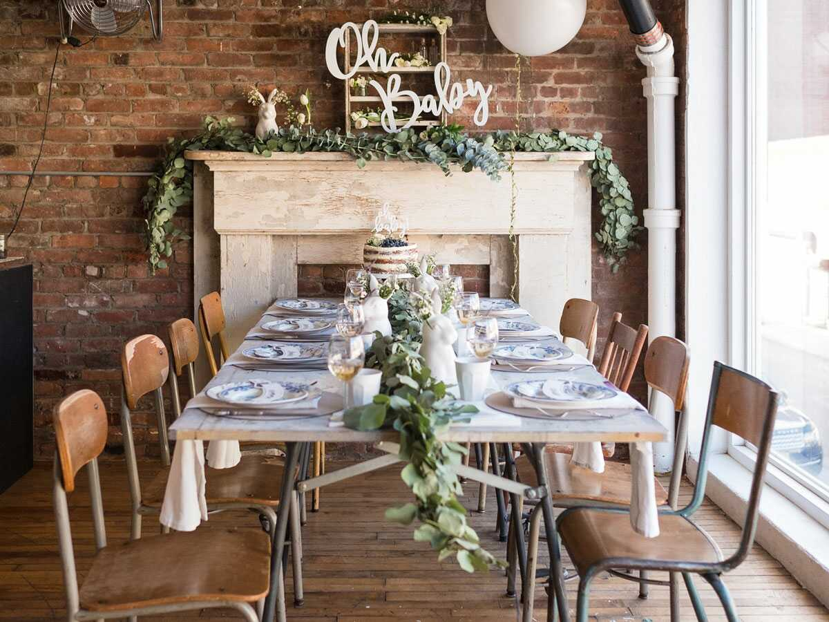 Big table set for group party at Maman Greenpoint