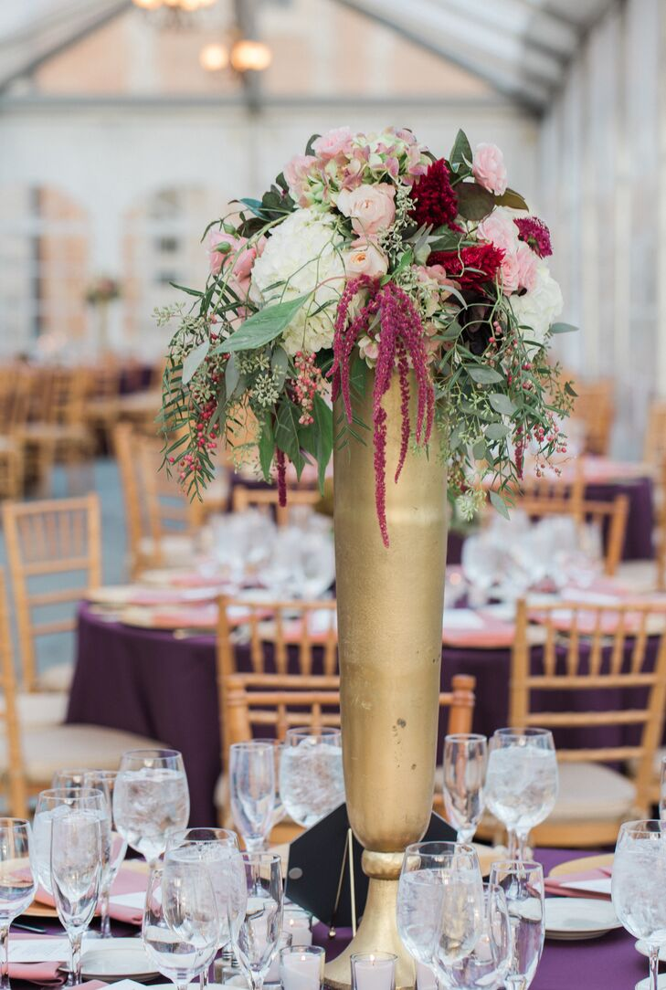 Tall Autumnal Amaranthus and Rose Centerpieces