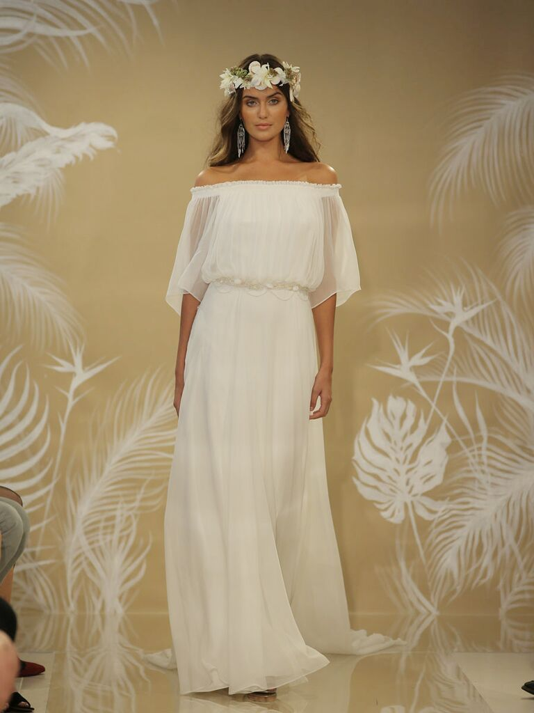 a4463dd1bbf Theia Fall 2017 off the shoulder wedding dress with sheer flowing sleeves  and flowing skirt