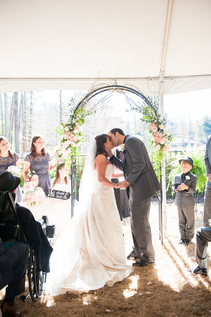 The couple decided on a tented garden ceremony, and Jim's extended family all chipped in and surprised them with their venue as a wedding gift.