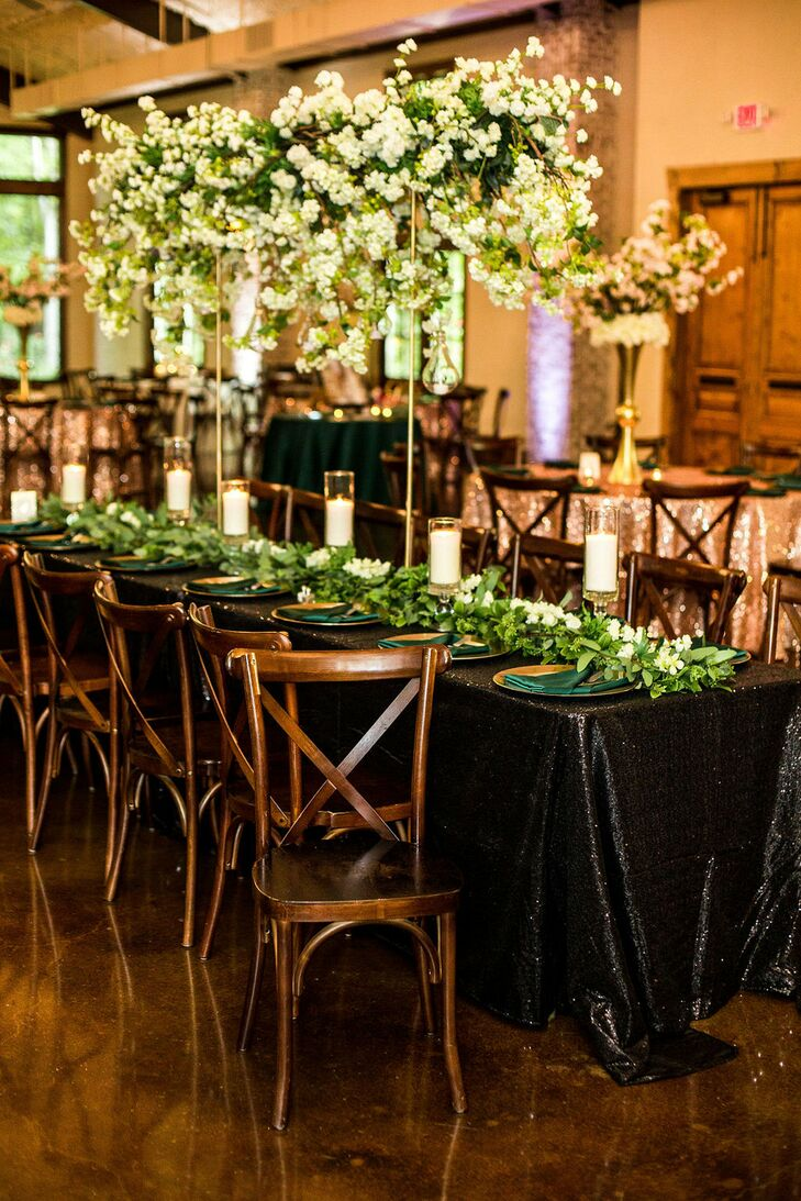 Glam Reception Tablescape for Wedding at Hidden Waters in Waxahachie, Texas