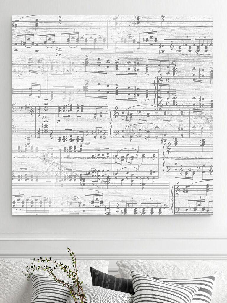 Silver sheet music canvas art 25th anniversary gift