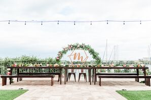 Floral Arch with Geometric Copper Monogram