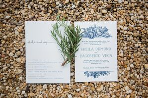 Classic Blue and White Wedding Invitations