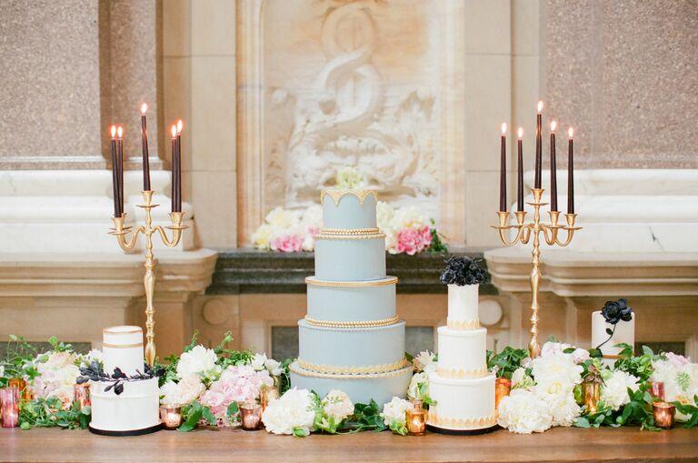 cake and dessert black and white wedding