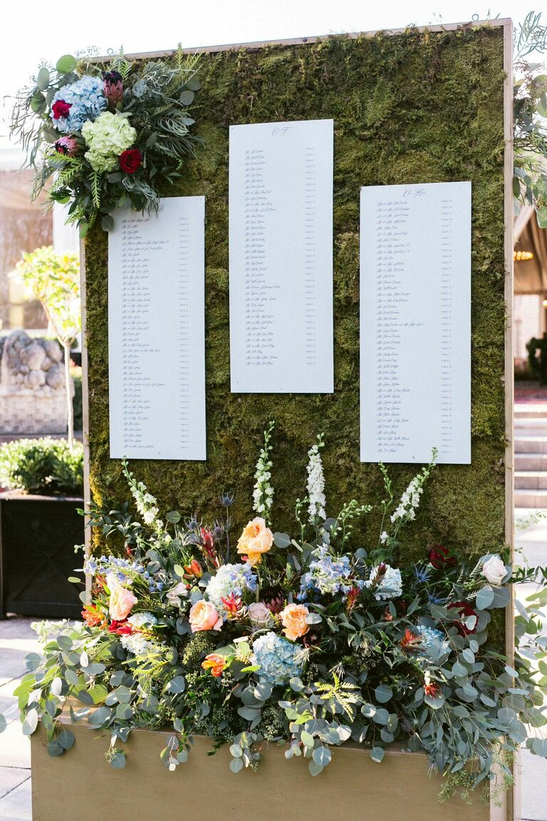 Seating chart on moss wall with hydrangea and eucalyptus accents