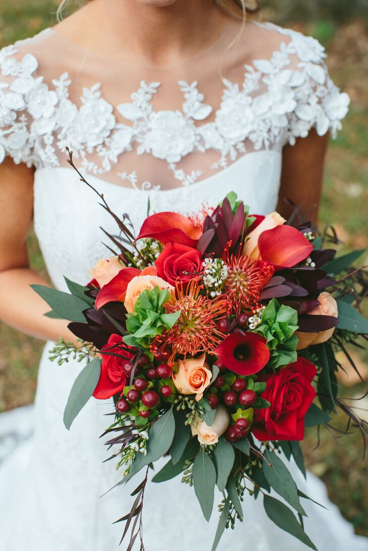 Gail's festive bouquet featured seasonal blooms, berries, greenery and twig sprays in an explosion of lush fall colors.
