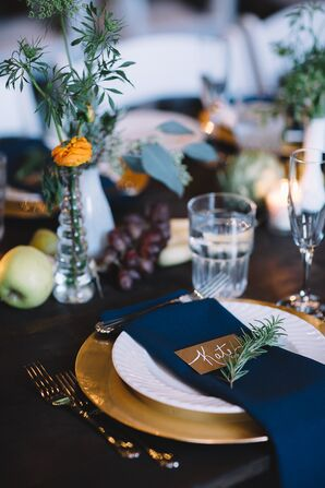 Blue and Gold Place Setting with Rosemary