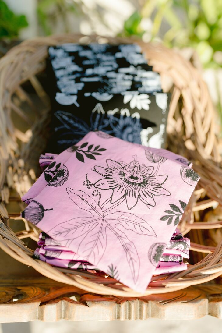 Custom Pink Napkins at Wedding in Tulum, Mexico
