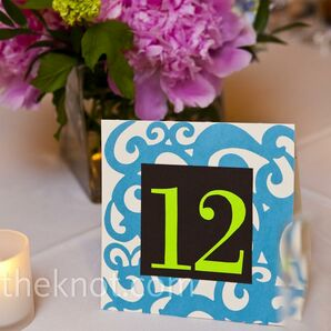 Blue and Green Table Numbers