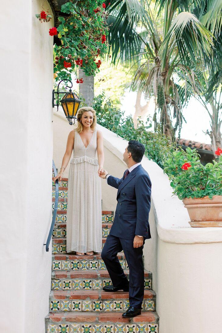 Elegant, Beachy Couple at Four Seasons Resort Santa Barbara