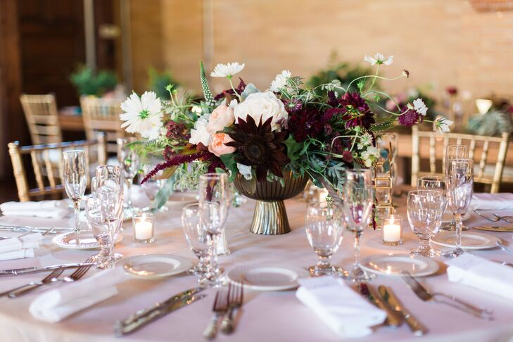 Wild Plum Scabiosa and Garden Rose Centerpieces