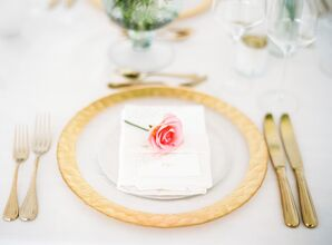 Gold-Rimmed Dinnerware and Brass Cutlery