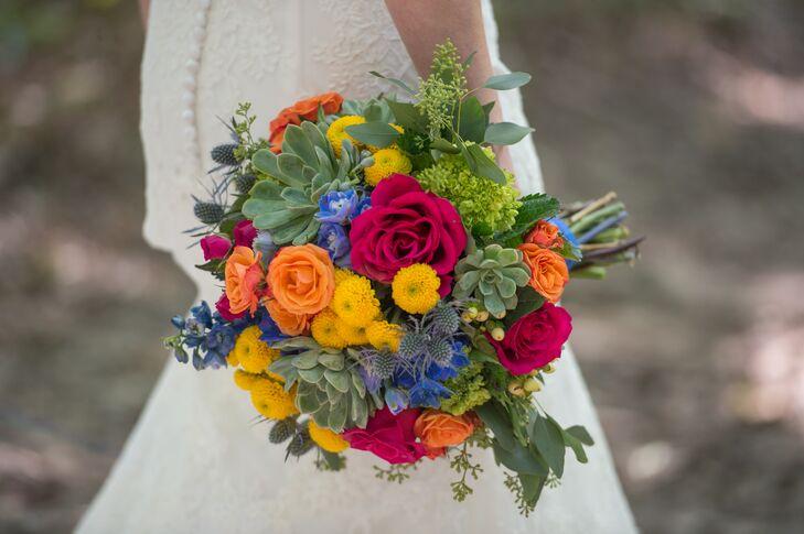 Multicolor Rose, Mini Chrysanthemum and Succulent Bouquet