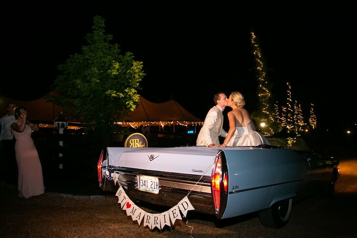 Elegant Wedding Exit with Vintage Car and