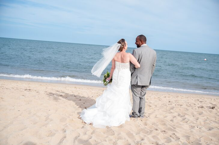 """Melanie Ahern (35 and a literary coach) and Michael Morrison (36 and a locomotive engineer) knew they wanted to be married at the beach. """"I described"""