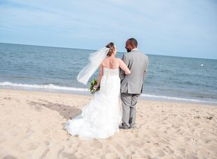 "Melanie Ahern (35 and a literary coach) and Michael Morrison (36 and a locomotive engineer) knew they wanted to be married at the beach. ""I described"