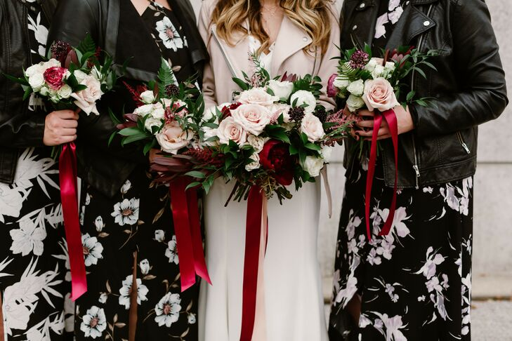 Bohemian Bride with Bridesmaids in Patterned Dresses